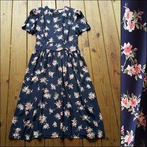 Vintage 90's Size 14 Navy Pink Floral Midi Dress
